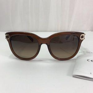 CHLOE Brown Gradient Geometric Ladies Sunglasses